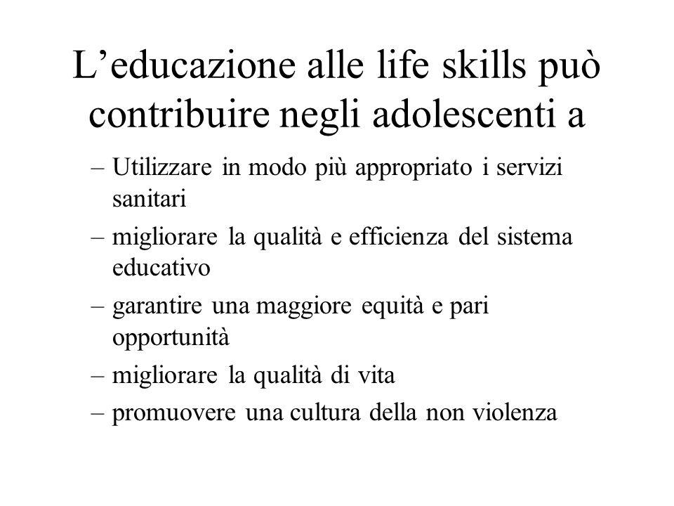 Leducazione alle life skills può contribuire negli adolescenti a –Utilizzare in modo più appropriato i servizi sanitari –migliorare la qualità e effic