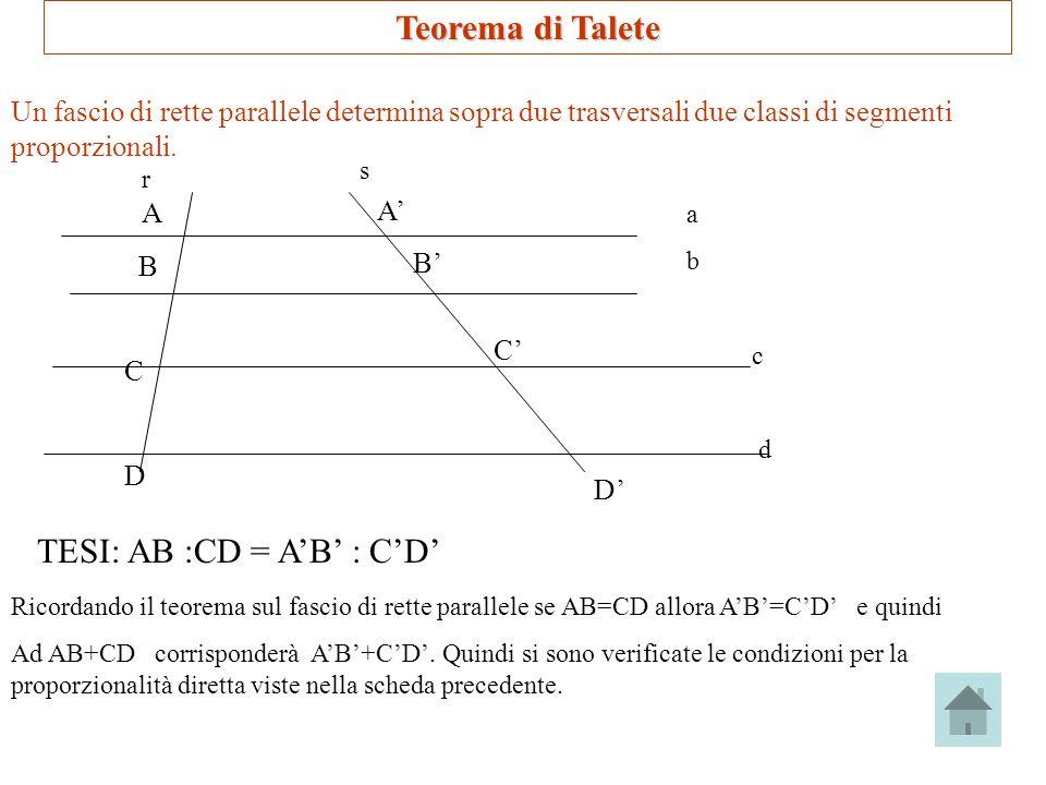 Teorema di Talete Un fascio di rette parallele determina sopra due trasversali due classi di segmenti proporzionali. r s A B C D A B C D TESI: AB :CD