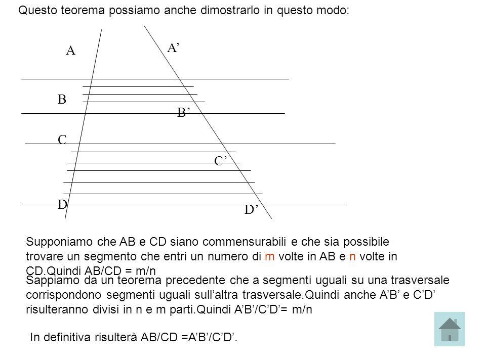 Questo teorema possiamo anche dimostrarlo in questo modo: A B C D A B C D Supponiamo che AB e CD siano commensurabili e che sia possibile trovare un s