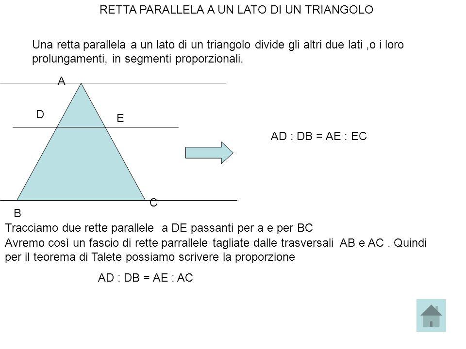 RETTA PARALLELA A UN LATO DI UN TRIANGOLO Una retta parallela a un lato di un triangolo divide gli altri due lati,o i loro prolungamenti, in segmenti
