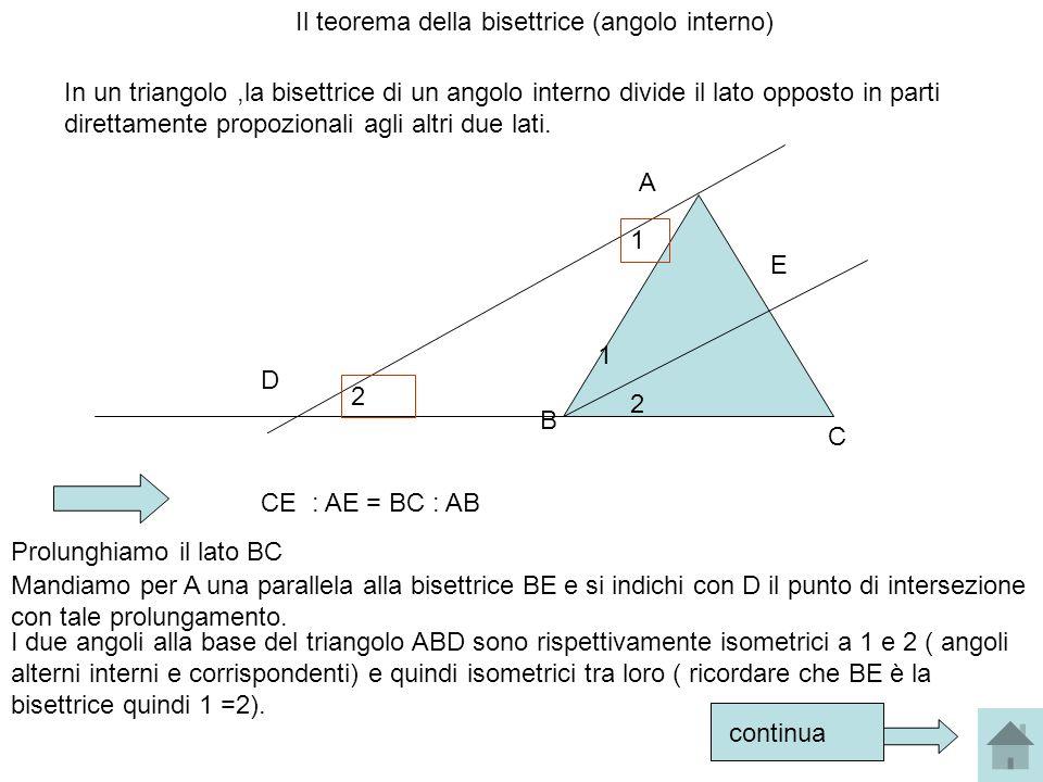 Il teorema della bisettrice (angolo interno) In un triangolo,la bisettrice di un angolo interno divide il lato opposto in parti direttamente propozion