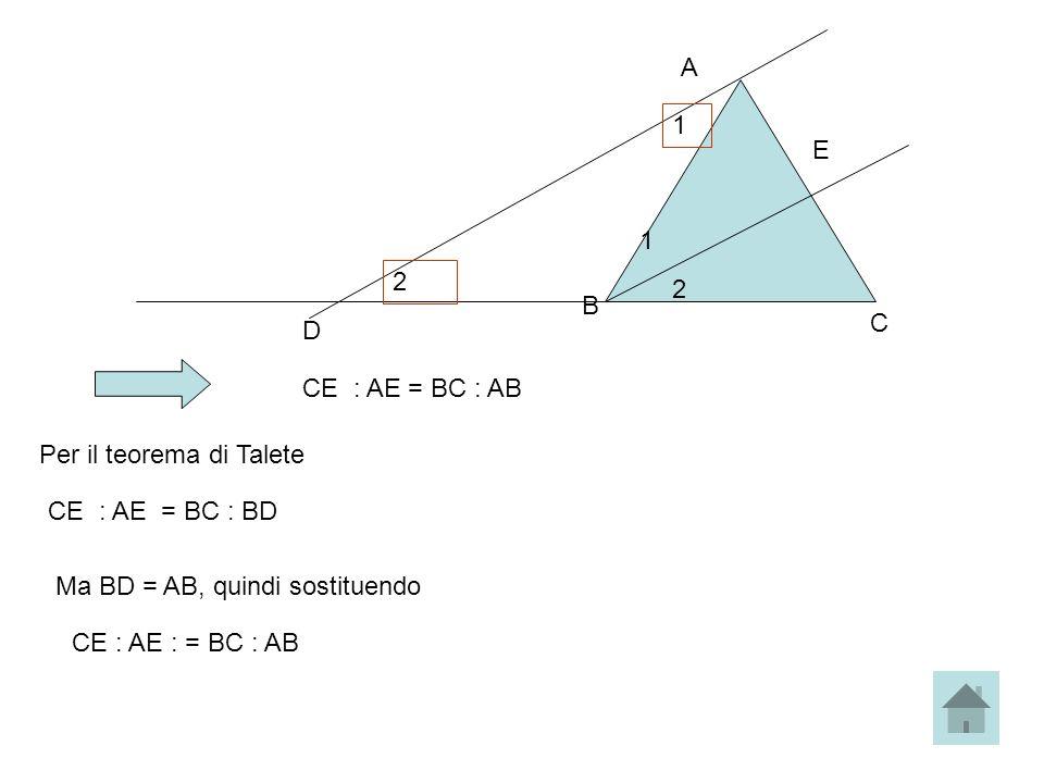 A B C E 1 2 CE : AE = BC : AB D 1 2 Per il teorema di Talete CE : AE = BC : BD Ma BD = AB, quindi sostituendo CE : AE : = BC : AB