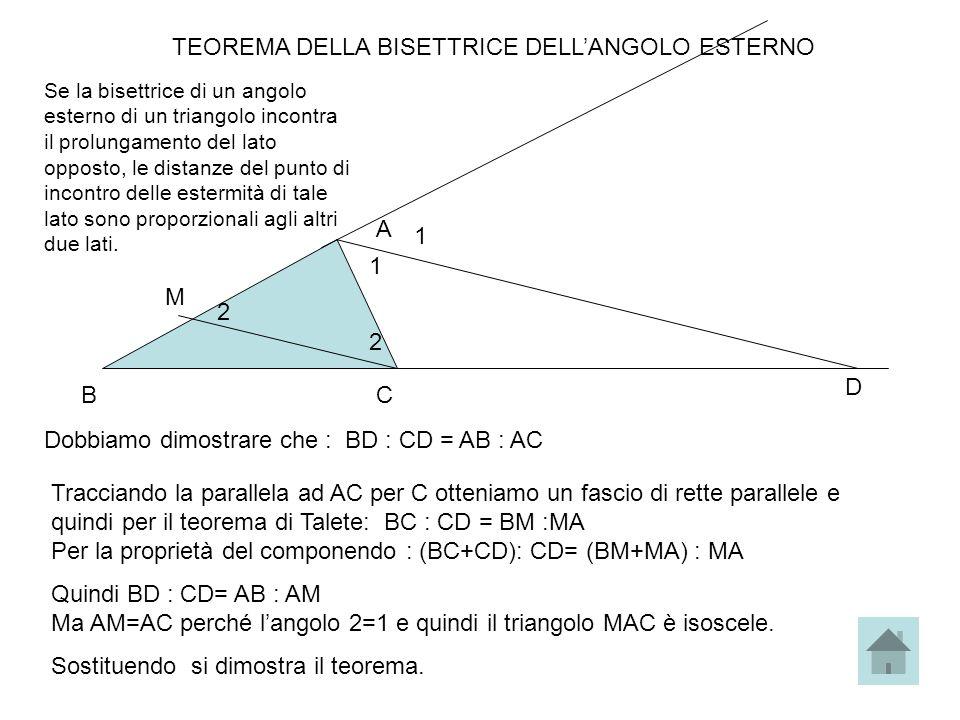 TEOREMA DELLA BISETTRICE DELLANGOLO ESTERNO Se la bisettrice di un angolo esterno di un triangolo incontra il prolungamento del lato opposto, le dista