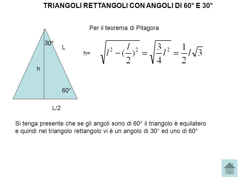 TRIANGOLI RETTANGOLI CON ANGOLI DI 60° E 30° 60° 30° h L L/2 Per il teorema di Pitagora h= Si tenga presente che se gli angoli sono di 60° il triangol