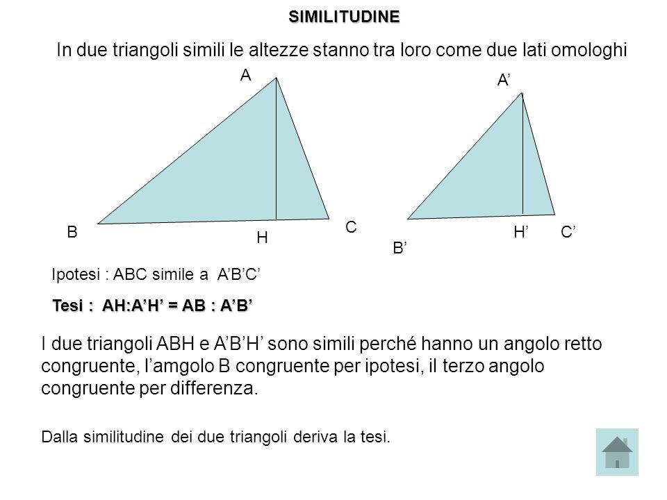 In due triangoli simili le altezze stanno tra loro come due lati omologhi B A C H A B CH Ipotesi : ABC simile a ABC Tesi : AH:AH = AB : AB I due trian