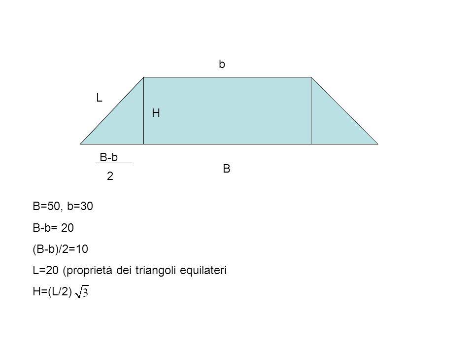 L H B b B=50, b=30 B-b= 20 (B-b)/2=10 L=20 (proprietà dei triangoli equilateri H=(L/2) B-b 2