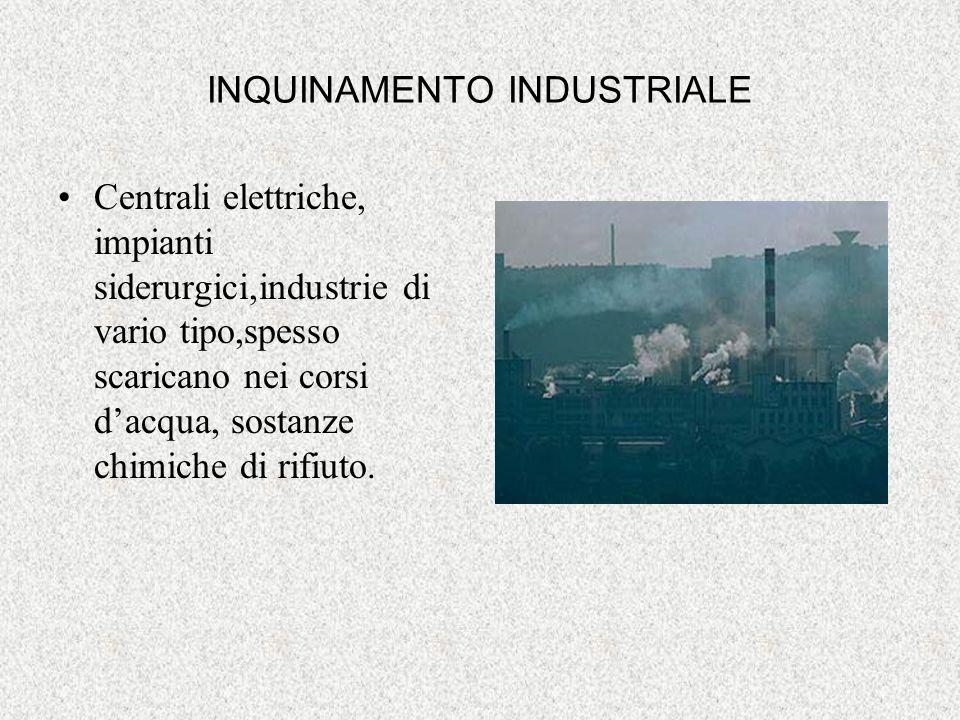 INQUINAMENTO INDUSTRIALE Centrali elettriche, impianti siderurgici,industrie di vario tipo,spesso scaricano nei corsi dacqua, sostanze chimiche di rif