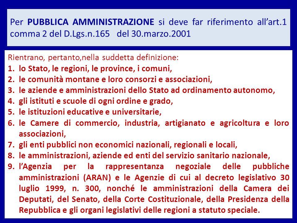 Per PUBBLICA AMMINISTRAZIONE si deve far riferimento allart.1 comma 2 del D.Lgs.n.165 del 30.marzo.2001 Rientrano, pertanto,nella suddetta definizione