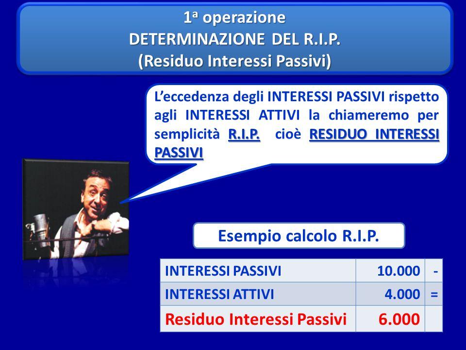 1 a operazione DETERMINAZIONE DEL R.I.P. (Residuo Interessi Passivi) 1 a operazione DETERMINAZIONE DEL R.I.P. (Residuo Interessi Passivi) R.I.P.RESIDU