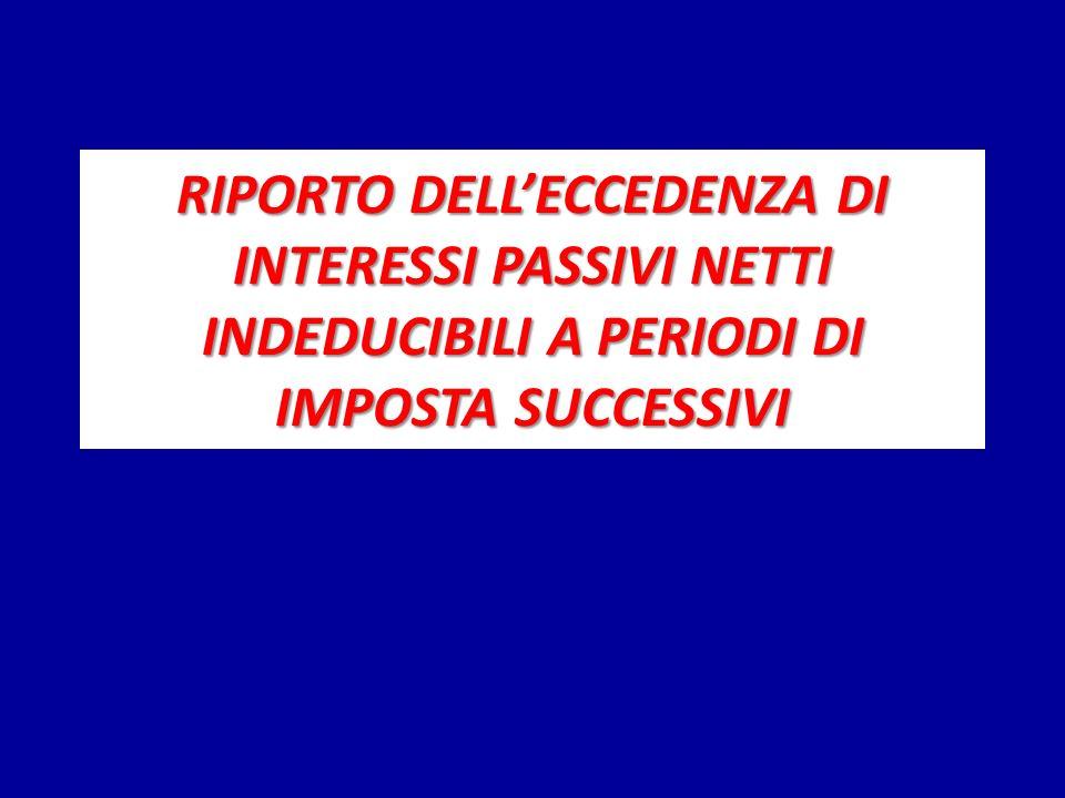 RIPORTO DELLECCEDENZA DI INTERESSI PASSIVI NETTI INDEDUCIBILI A PERIODI DI IMPOSTA SUCCESSIVI