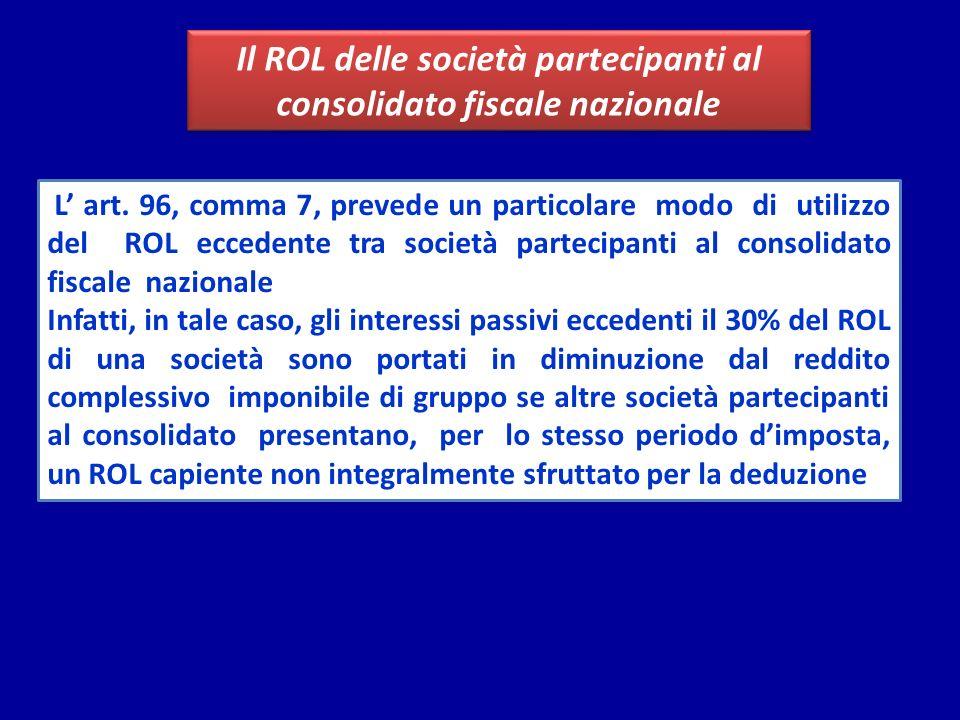 Il ROL delle società partecipanti al consolidato fiscale nazionale L art. 96, comma 7, prevede un particolare modo di utilizzo del ROL eccedente tra s