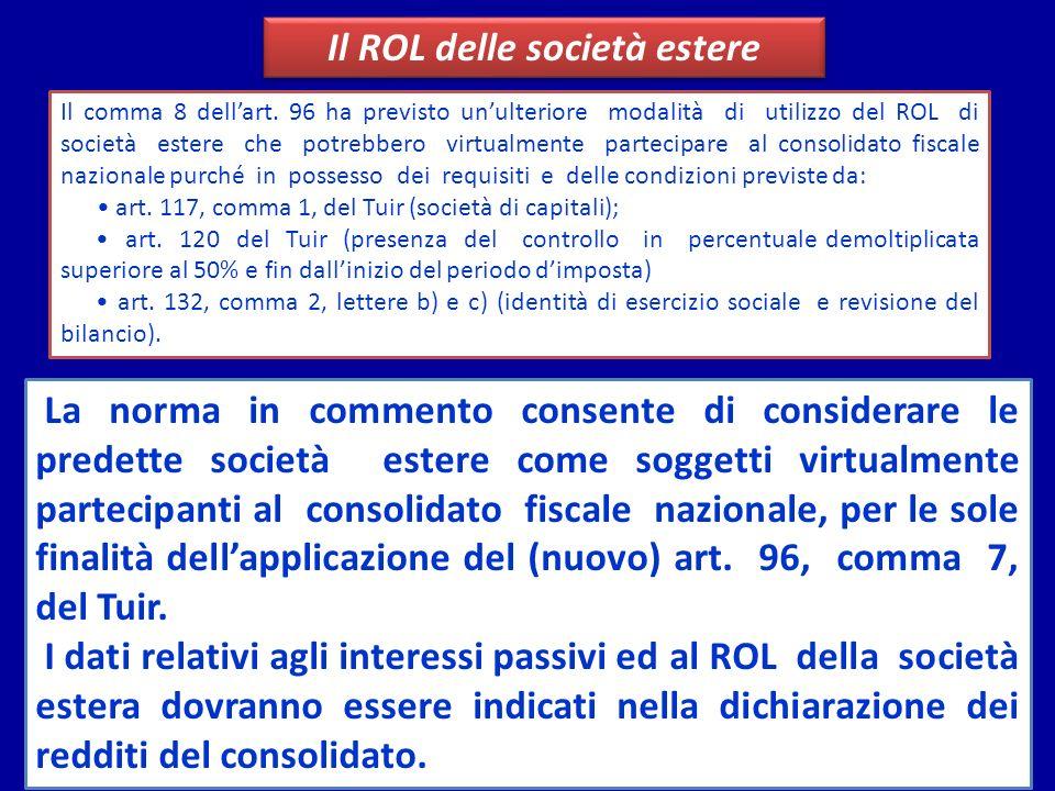 Il ROL delle società estere Il comma 8 dellart. 96 ha previsto unulteriore modalità di utilizzo del ROL di società estere che potrebbero virtualmente