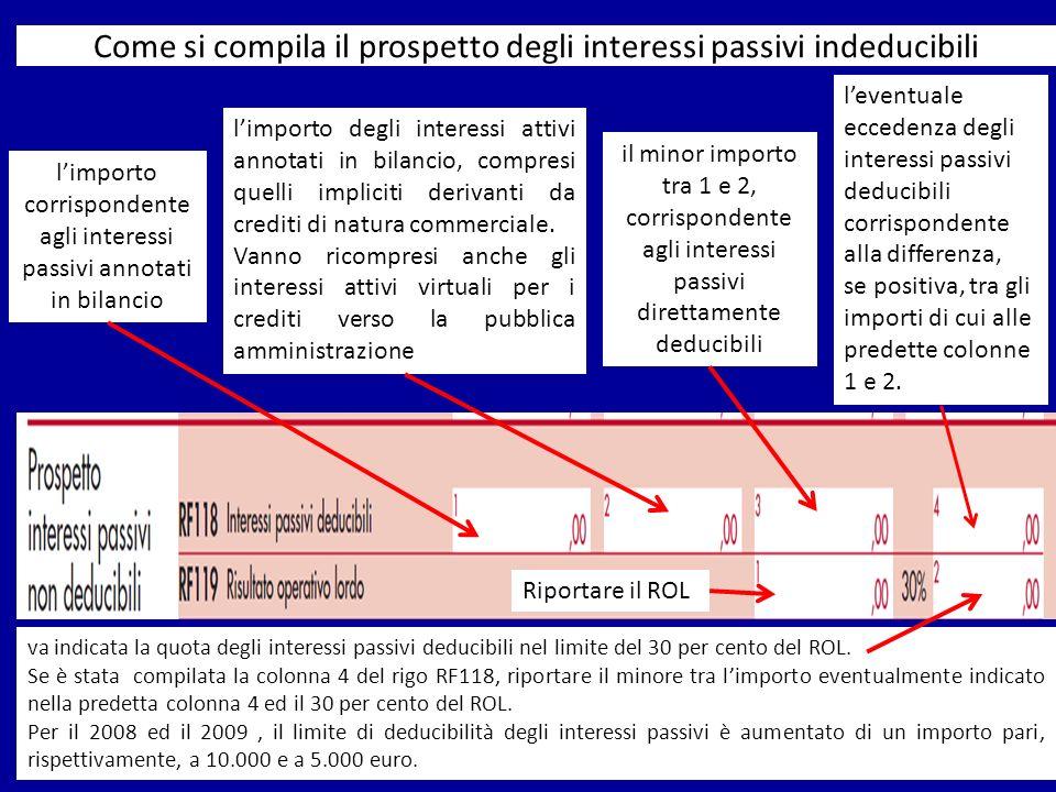 Come si compila il prospetto degli interessi passivi indeducibili limporto corrispondente agli interessi passivi annotati in bilancio limporto degli i