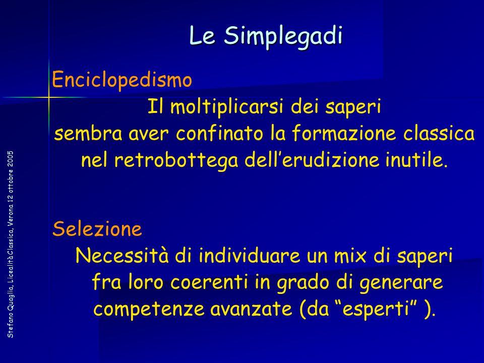 Stefano Quaglia, Licealità Classica, Verona 12 ottobre 2005 Le Simplegadi Enciclopedismo Il moltiplicarsi dei saperi sembra aver confinato la formazio