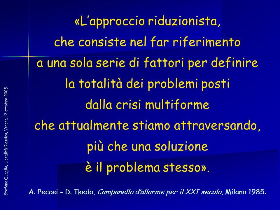 Stefano Quaglia, Licealità Classica, Verona 12 ottobre 2005 « Lapproccio riduzionista, che consiste nel far riferimento a una sola serie di fattori pe