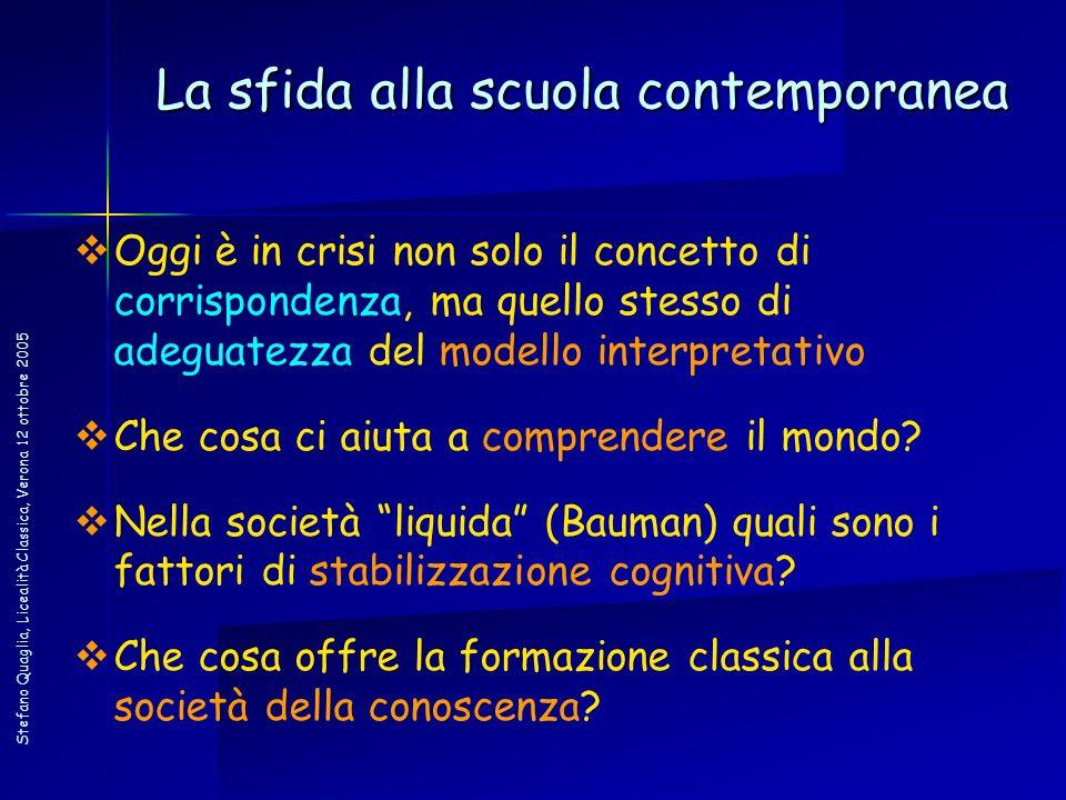 Stefano Quaglia, Licealità Classica, Verona 12 ottobre 2005 La sfida alla scuola contemporanea Oggi è in crisi non solo il concetto di corrispondenza,