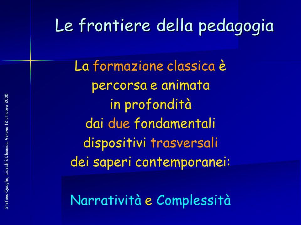 Stefano Quaglia, Licealità Classica, Verona 12 ottobre 2005 La formazione classica è percorsa e animata in profondità dai due fondamentali dispositivi