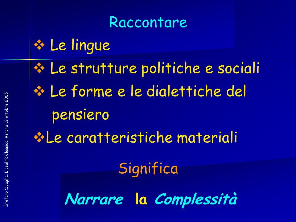 Stefano Quaglia, Licealità Classica, Verona 12 ottobre 2005 Raccontare Le lingue Le strutture politiche e sociali Le forme e le dialettiche del pensie