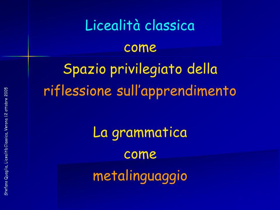 Stefano Quaglia, Licealità Classica, Verona 12 ottobre 2005 Licealità classica come Spazio privilegiato della riflessione sullapprendimento La grammat
