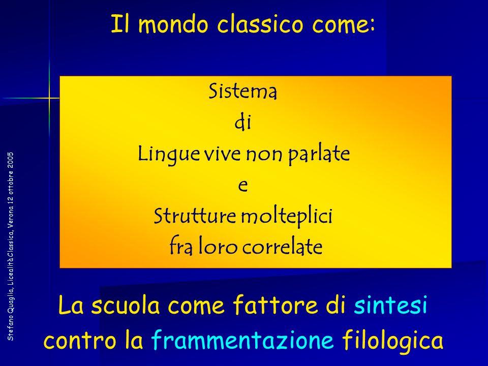 Stefano Quaglia, Licealità Classica, Verona 12 ottobre 2005 Il mondo classico come: Sistema di Lingue vive non parlate e Strutture molteplici fra loro