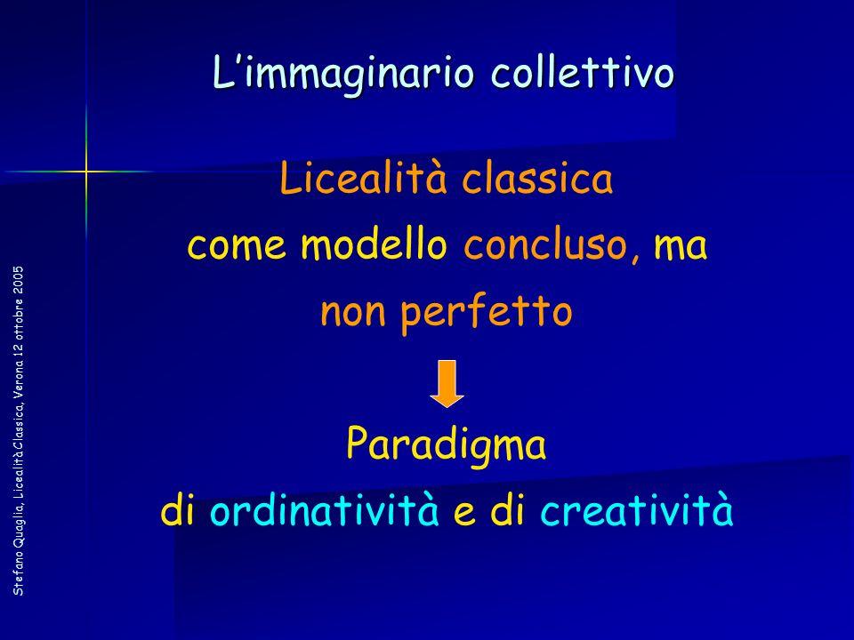 Stefano Quaglia, Licealità Classica, Verona 12 ottobre 2005 Licealità classica come modello concluso, ma non perfetto Paradigma di ordinatività e di c