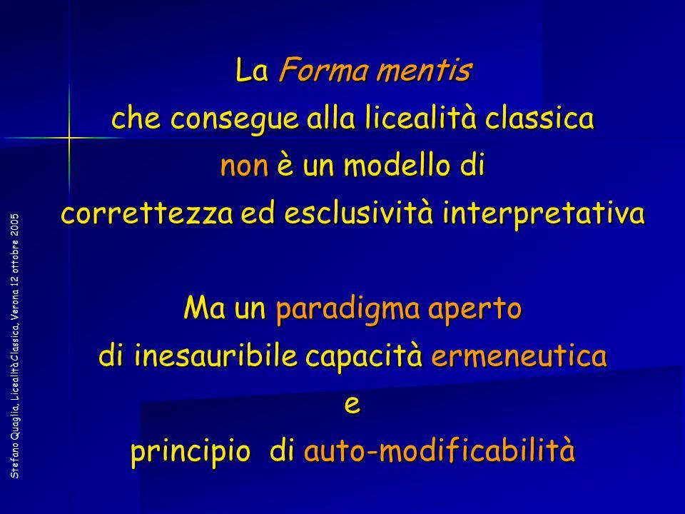 Stefano Quaglia, Licealità Classica, Verona 12 ottobre 2005 La Forma mentis che consegue alla licealità classica non è un modello di correttezza ed es