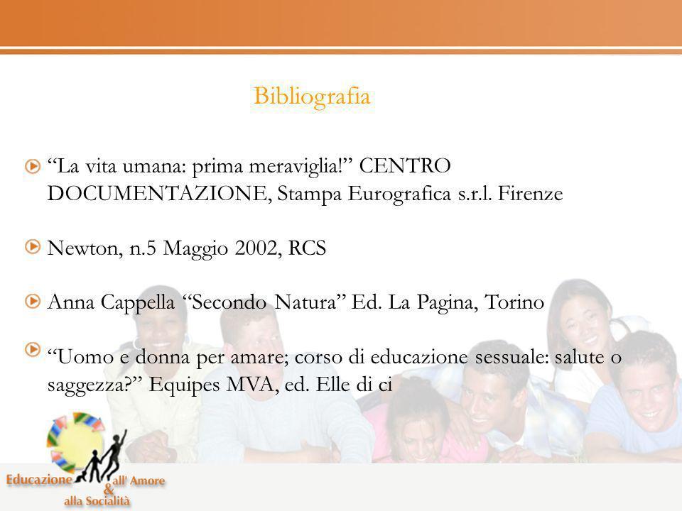 Bibliografia La vita umana: prima meraviglia! CENTRO DOCUMENTAZIONE, Stampa Eurografica s.r.l. Firenze Newton, n.5 Maggio 2002, RCS Anna Cappella Seco