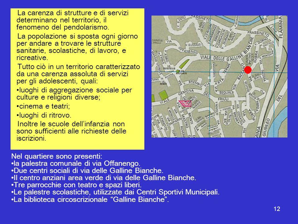 12 La carenza di strutture e di servizi determinano nel territorio, il fenomeno del pendolarismo. La popolazione si sposta ogni giorno per andare a tr