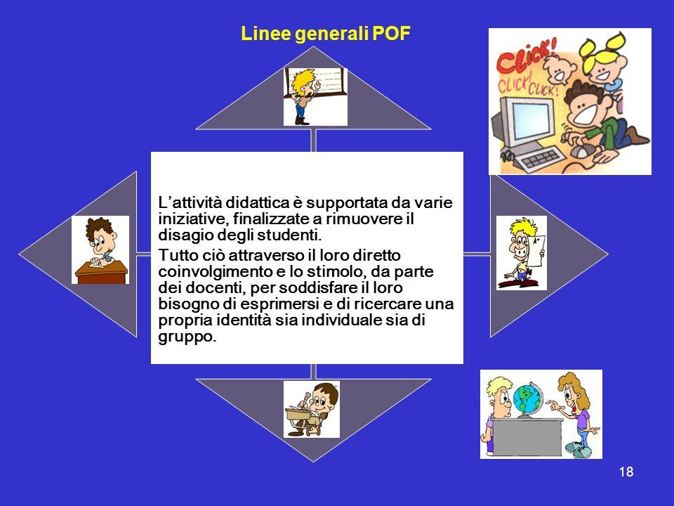 18 Linee generali POF Lattività didattica è supportata da varie iniziative, finalizzate a rimuovere il disagio degli studenti. Tutto ciò attraverso il