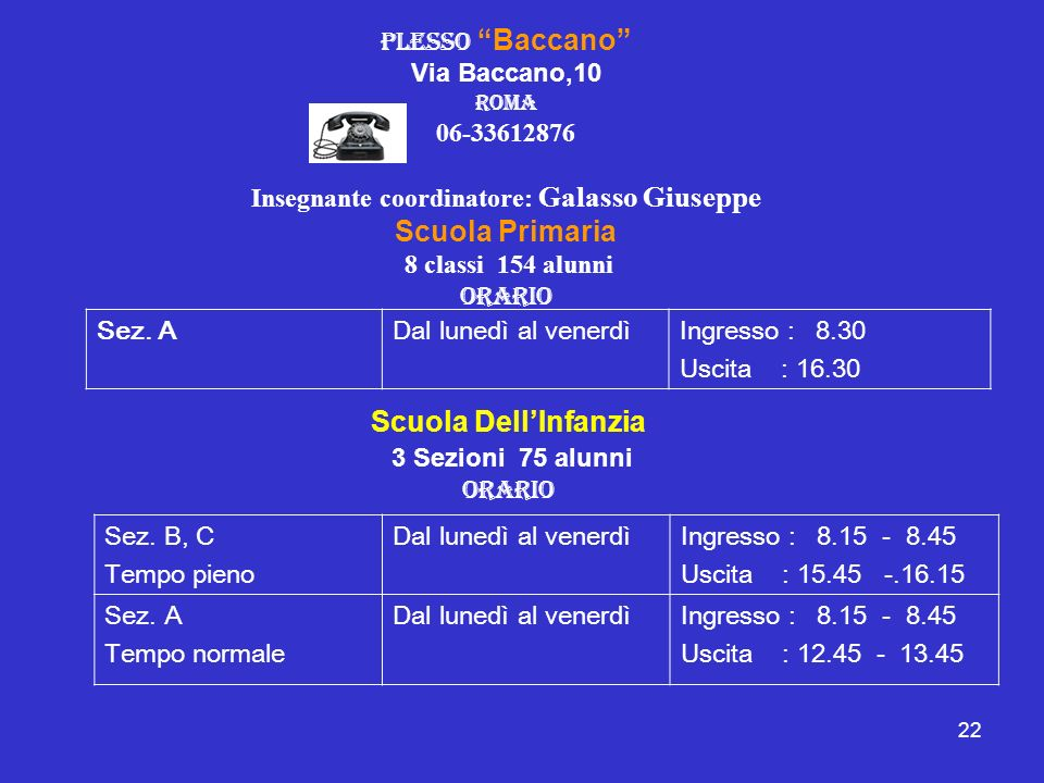 22 plesso Baccano Via Baccano,10 Roma 06-33612876 Insegnante coordinatore: Galasso Giuseppe Scuola Primaria 8 classi 154 alunni Orario Sez. ADal luned