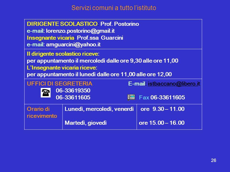 26 Servizi comuni a tutto listituto DIRIGENTE SCOLASTICO: Prof. Postorino e-mail: lorenzo.postorino@gmail.it Insegnante vicaria: Prof.ssa Guarcini e-m