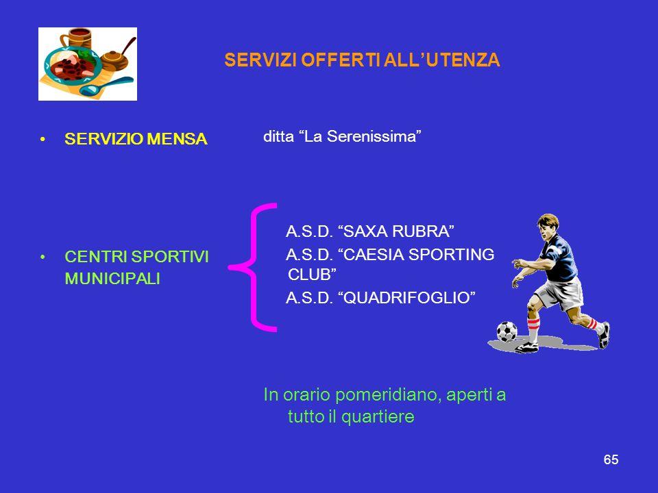65 SERVIZI OFFERTI ALLUTENZA SERVIZIO MENSA CENTRI SPORTIVI MUNICIPALI ditta La Serenissima A.S.D. SAXA RUBRA A.S.D. CAESIA SPORTING CLUB A.S.D. QUADR