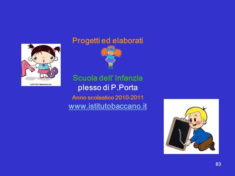 83 Progetti ed elaborati Scuola dell lnfanzia plesso di P.Porta Anno scolastico 2010-2011 www.istitutobaccano.it
