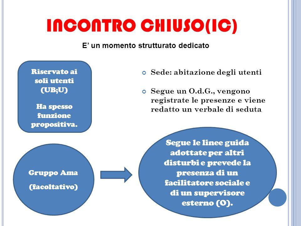 INCONTRO CHIUSO(IC) Sede: abitazione degli utenti Segue un O.d.G., vengono registrate le presenze e viene redatto un verbale di seduta Riservato ai soli utenti (UB;U) Ha spesso funzione propositiva.