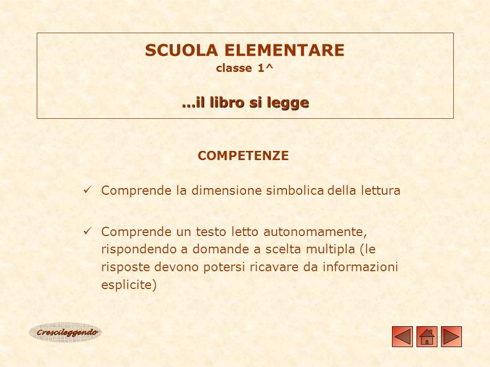 …il libro si legge SCUOLA ELEMENTARE classe 1^ …il libro si legge COMPETENZE Comprende la dimensione simbolica della lettura Comprende un testo letto