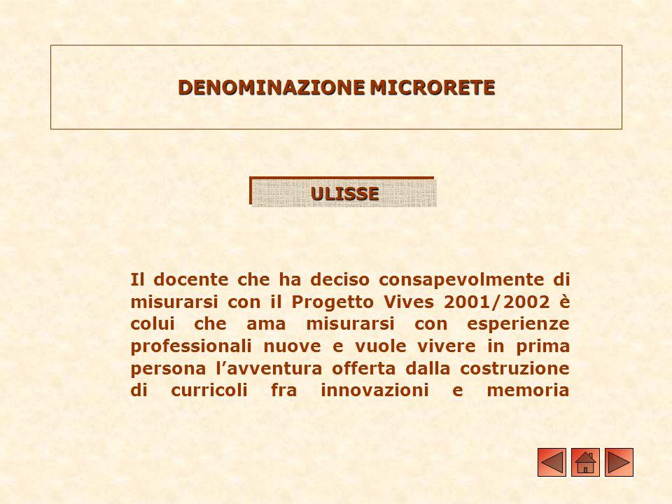 ULISSEULISSE Il docente che ha deciso consapevolmente di misurarsi con il Progetto Vives 2001/2002 è colui che ama misurarsi con esperienze profession