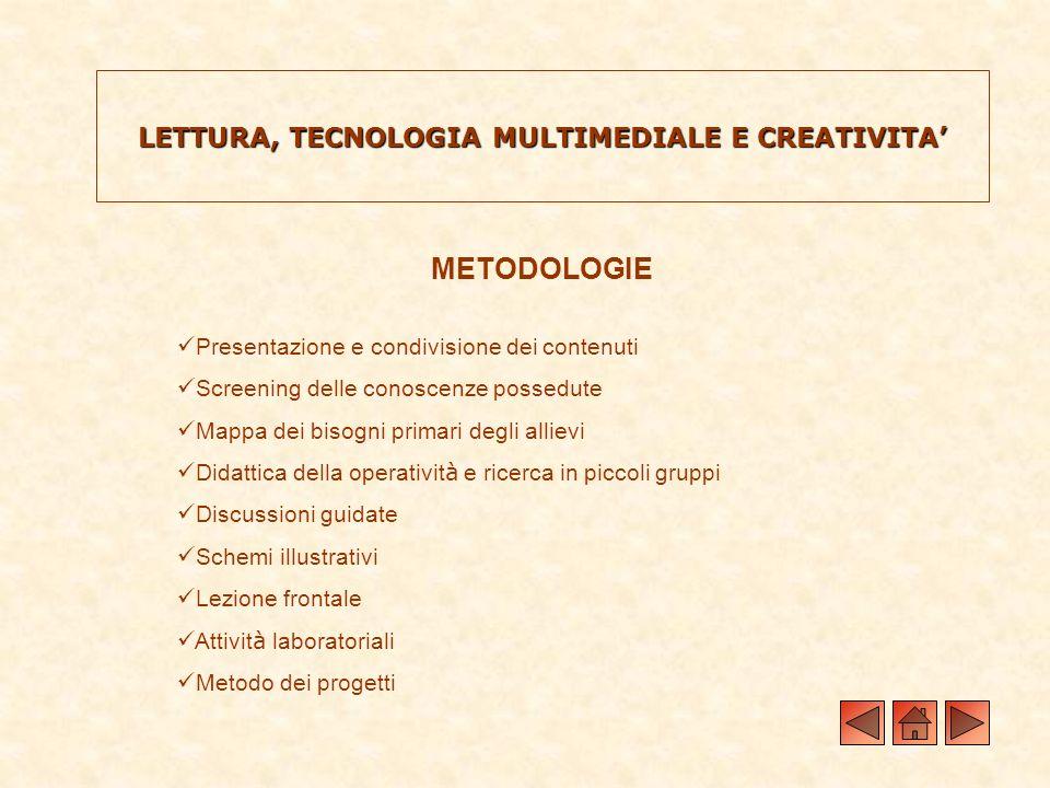 LETTURA, TECNOLOGIA MULTIMEDIALE E CREATIVITA METODOLOGIE Presentazione e condivisione dei contenuti Screening delle conoscenze possedute Mappa dei bi