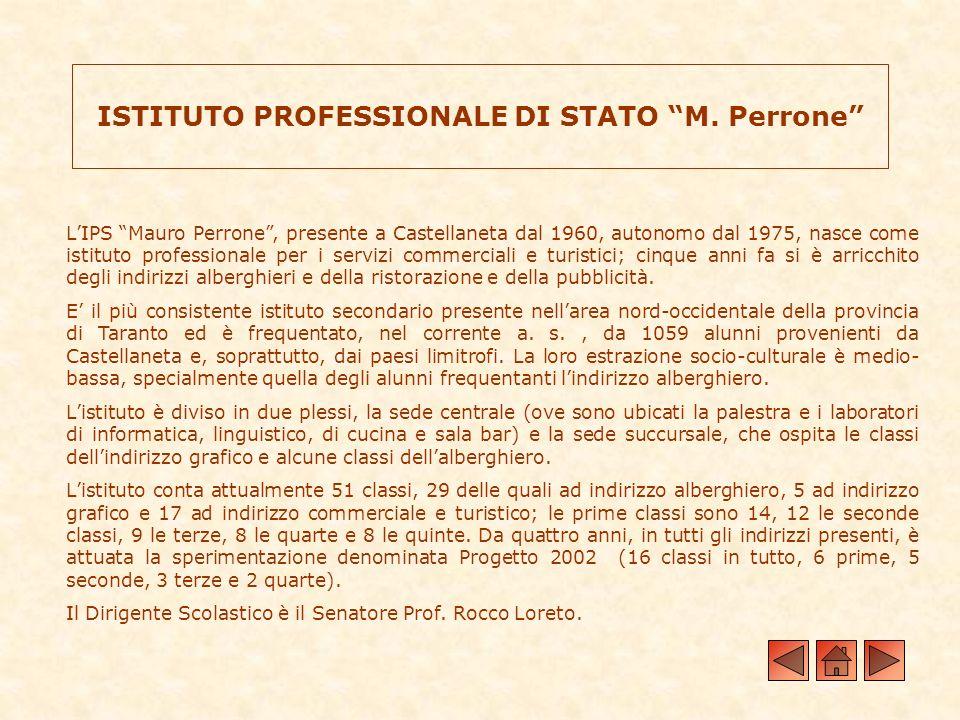 ISTITUTO PROFESSIONALE DI STATO M. Perrone LIPS Mauro Perrone, presente a Castellaneta dal 1960, autonomo dal 1975, nasce come istituto professionale