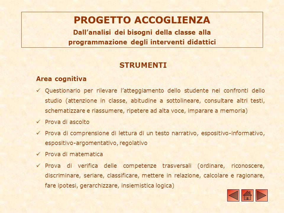 PROGETTO ACCOGLIENZA Dallanalisi dei bisogni della classe alla programmazione degli interventi didattici STRUMENTI Area cognitiva Questionario per ril