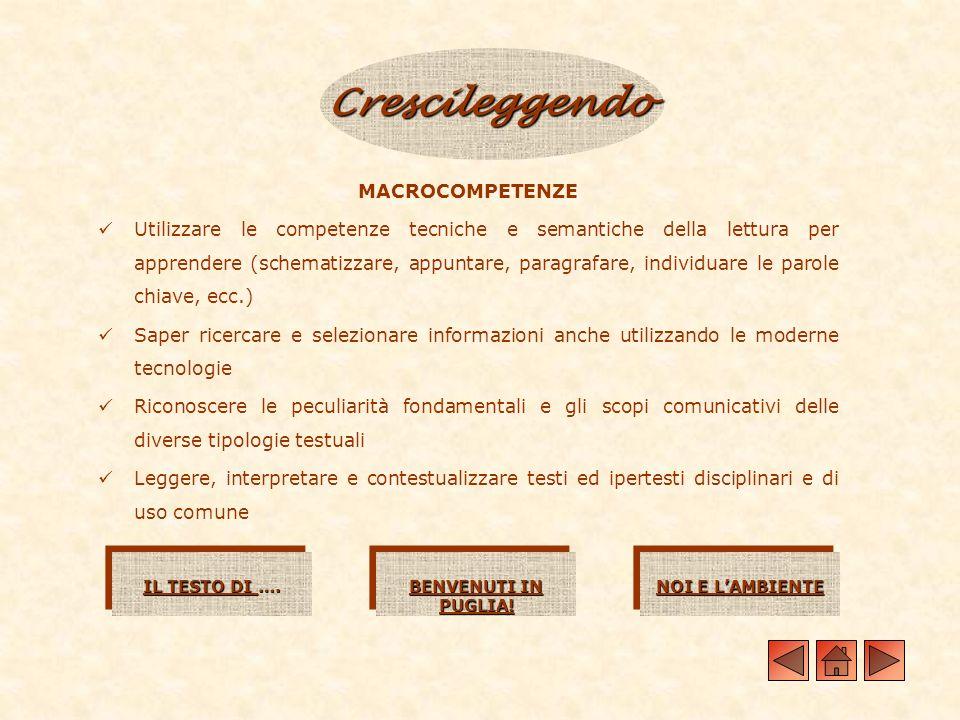 Crescileggendo MACROCOMPETENZE Utilizzare le competenze tecniche e semantiche della lettura per apprendere (schematizzare, appuntare, paragrafare, ind