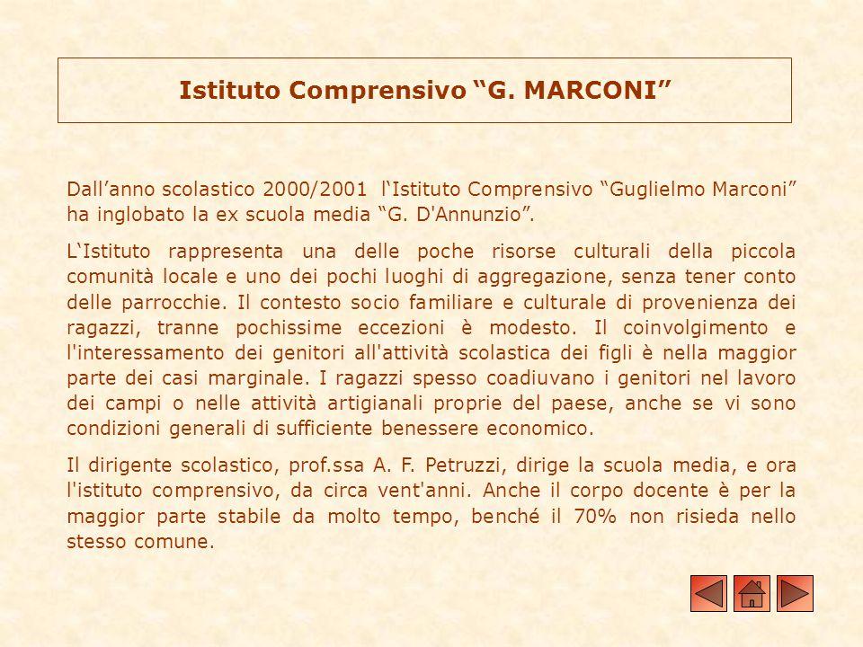 Istituto Comprensivo G. MARCONI Dallanno scolastico 2000/2001 lIstituto Comprensivo Guglielmo Marconi ha inglobato la ex scuola media G. D'Annunzio. L