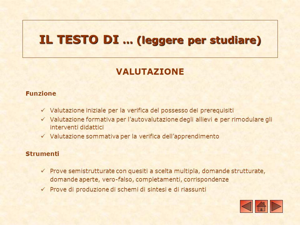 VALUTAZIONE Funzione Valutazione iniziale per la verifica del possesso dei prerequisiti Valutazione formativa per lautovalutazione degli allievi e per