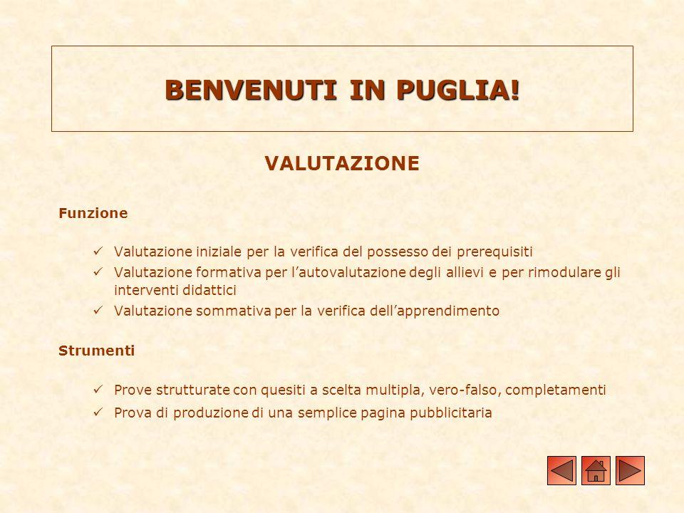 BENVENUTI IN PUGLIA! VALUTAZIONE Funzione Valutazione iniziale per la verifica del possesso dei prerequisiti Valutazione formativa per lautovalutazion