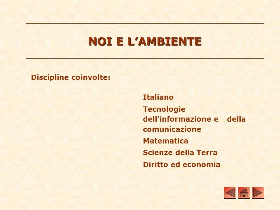 NOI E LAMBIENTE Discipline coinvolte: Italiano Tecnologie dellinformazione e della comunicazione Matematica Scienze della Terra Diritto ed economia