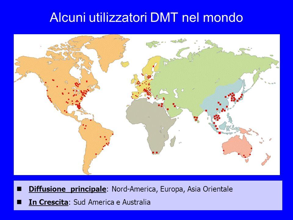 Alcuni utilizzatori DMT nel mondo Diffusione principale: Nord-America, Europa, Asia Orientale In Crescita: Sud America e Australia