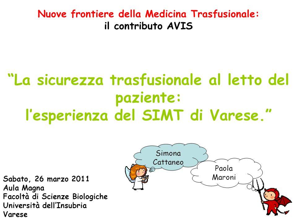 Nuove frontiere della Medicina Trasfusionale: il contributo AVIS La sicurezza trasfusionale al letto del paziente: lesperienza del SIMT di Varese. Sab