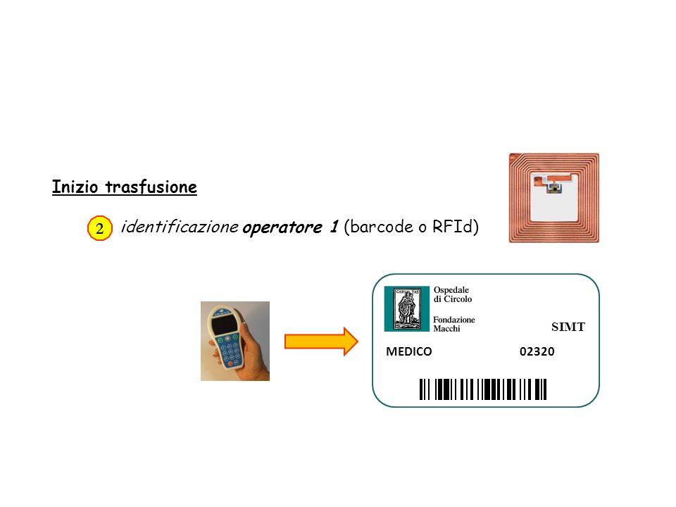 Inizio trasfusione identificazione operatore 1 (barcode o RFId) 2 SIMT MEDICO 02320