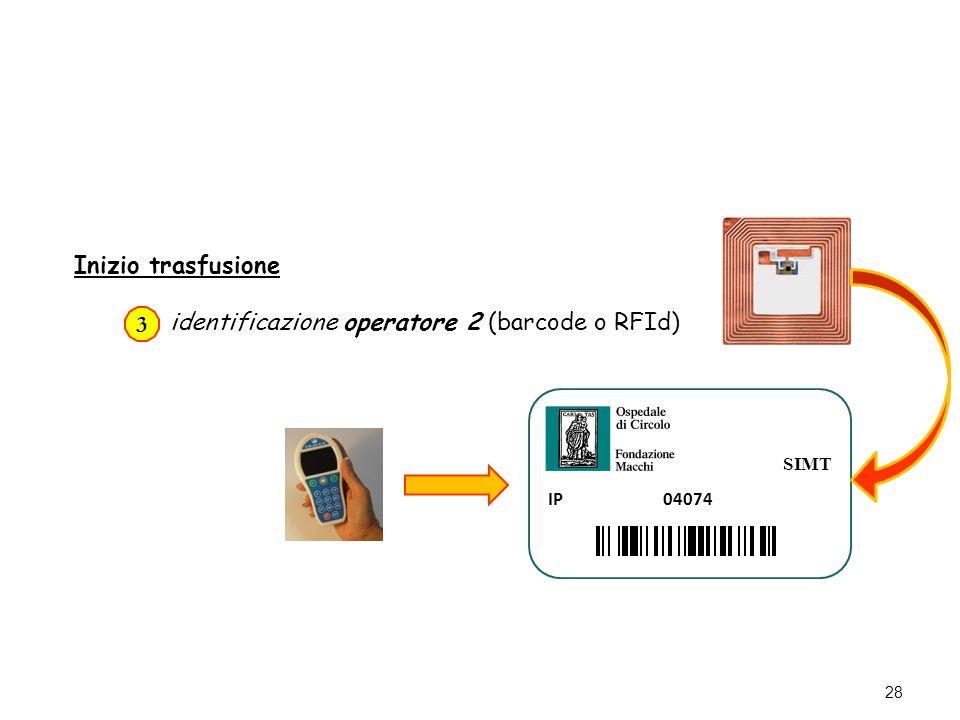 28 Inizio trasfusione identificazione operatore 2 (barcode o RFId) 3 SIMT IP 04074