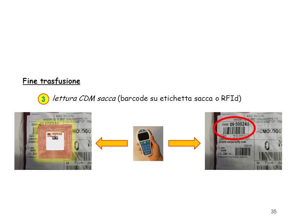 35 Fine trasfusione lettura CDM sacca (barcode su etichetta sacca o RFId) 3