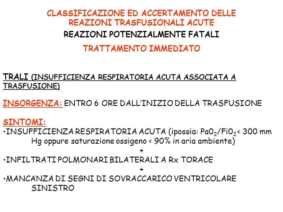 CLASSIFICAZIONE ED ACCERTAMENTO DELLE REAZIONI TRASFUSIONALI ACUTE REAZIONI POTENZIALMENTE FATALI TRATTAMENTO IMMEDIATO TRALI (INSUFFICIENZA RESPIRATO